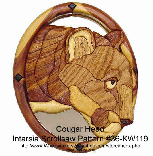 Cougar Head Intarsia Woodworking Pattern