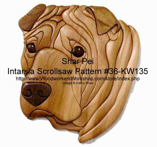 Shar Pei Head Intarsia Woodworking Pattern