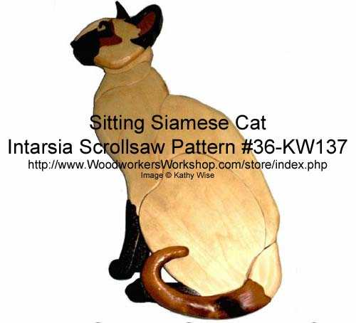 36-KW137 - Sitting Siamese Cat Intarsia Woodworking Pattern