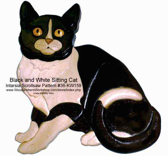 Sitting Black and White Cat Intarsia Woodworking Pattern