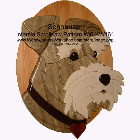 Schnauzer Head Intarsia Woodworking Pattern