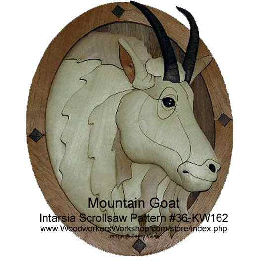 36-KW162 - Mountain Goat Head Intarsia Woodworking Pattern