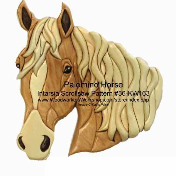 Palomino Horse Head Intarsia Woodworking Pattern WoodworkersWorkshop Simple Intarsia Patterns