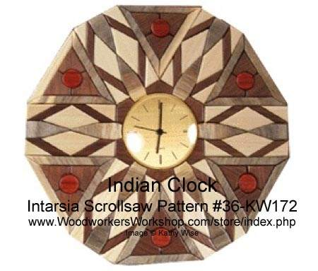 36-KW172 - Indian Style Clock Intarsia Woodworking Pattern