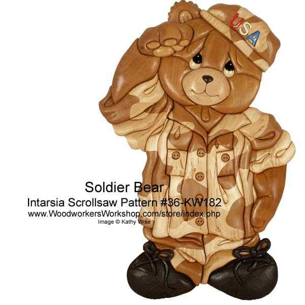 Soldier Bear Intarsia Woodworking Pattern