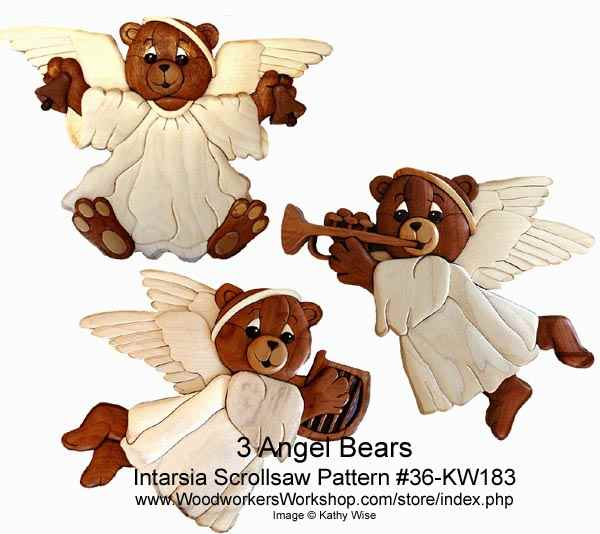 Angel Bears Intarsia Woodworking Pattern