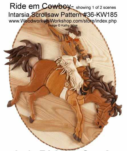 Ride m Cowboy Intarsia woodworking Pattern