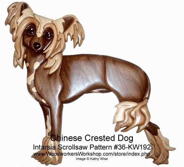 Chinese Crested Dog Intarsia woodworking Pattern