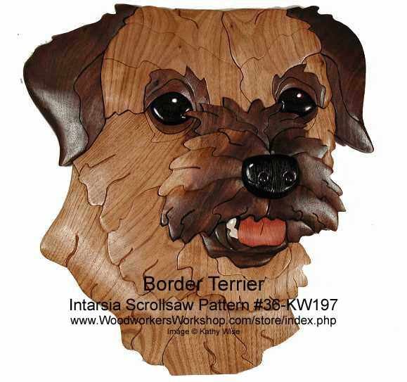 Border Terrier Head Intarsia Woodworking Pattern