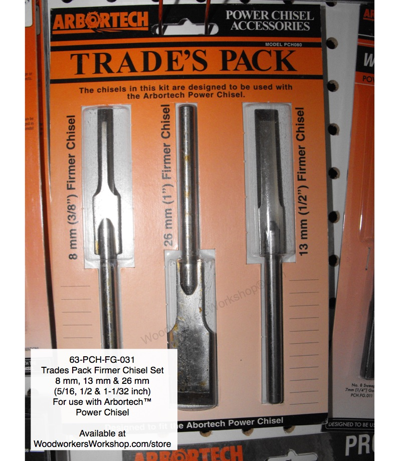 Power Chisel Trades Pack 3 Chisel Set Arbortech Wood Shaping Tool