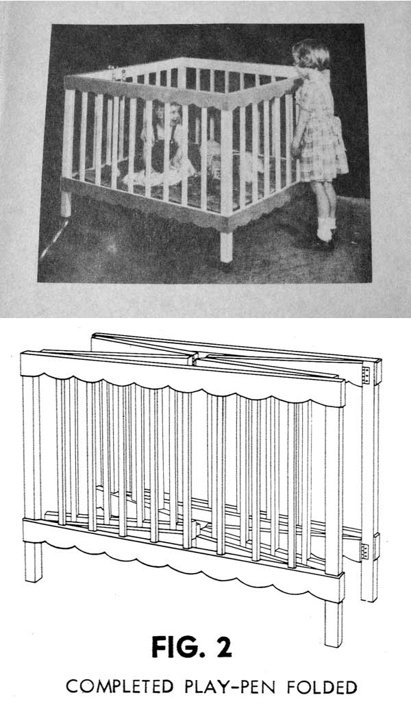 A Collapsible Play Pen for Baby Vintage Woodworking Plan