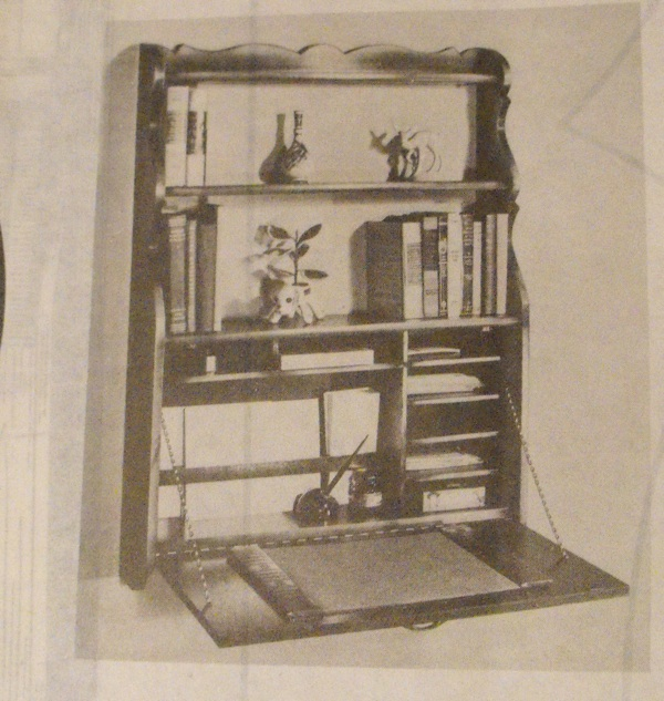 R-ANH0190 - Antique Wall Hutch with Built In Desk Vintage Woodworking Plan