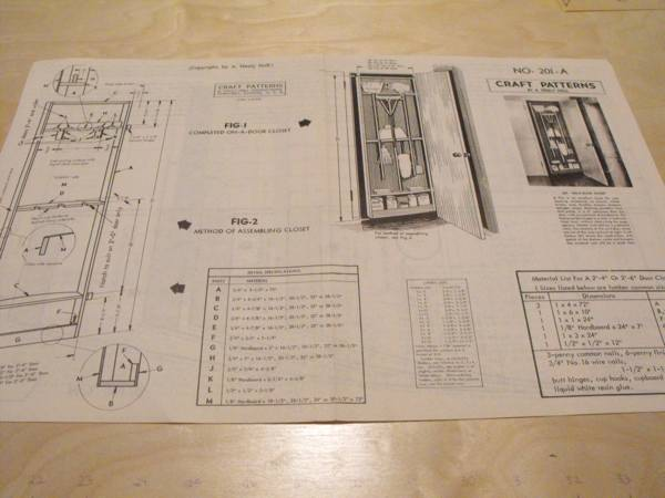 R-ANH0201 - On-A-Door Closet Vintage Woodworking Plan