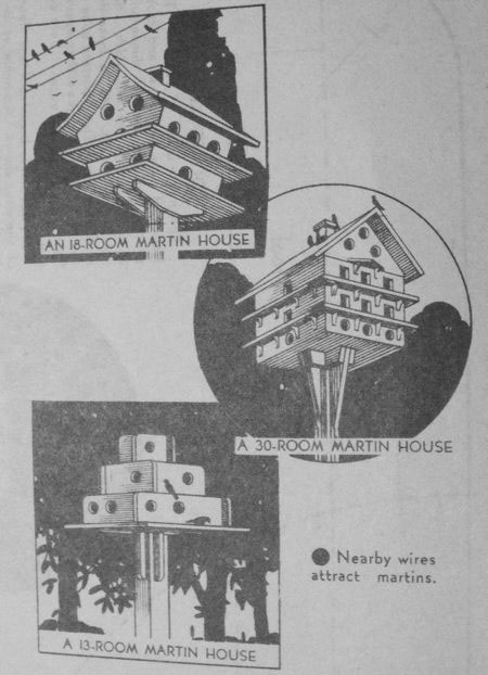 3 Birdhouses 13-18-30 Room Martin Vintage Woodworking Plan Set.