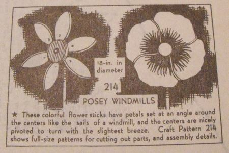 R-ANH0214 - Posey Flower Windmills Vintage Woodworking Plan.