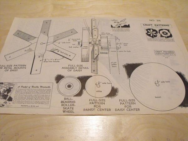 Posey Flower Windmills Vintage Woodworking Plan.