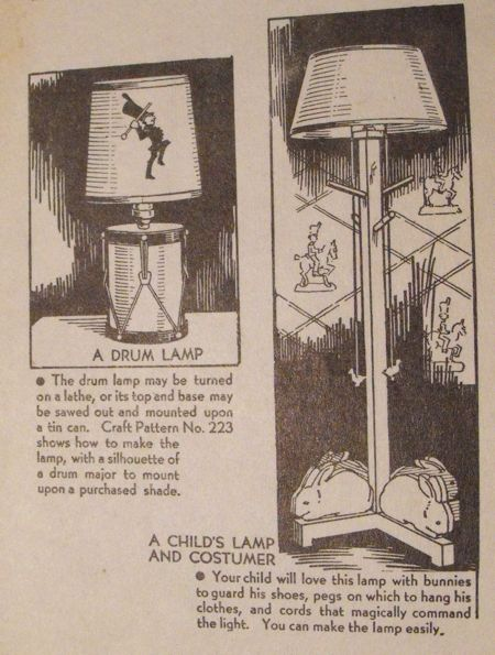 R-ANH0223 - Drum Lamp and Childs Lamp Vintage Woodworking Plan