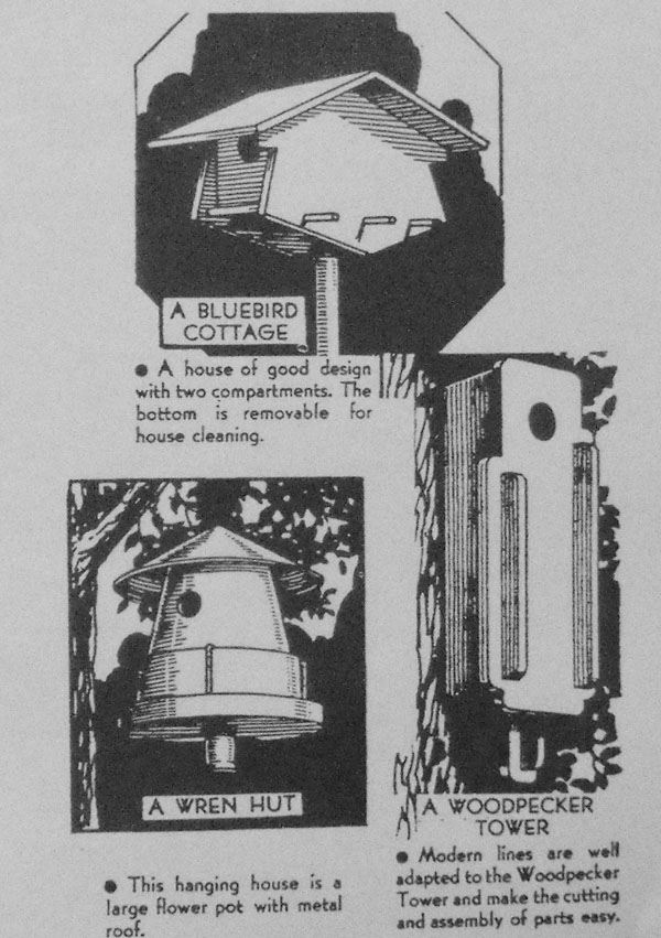 Birdhouse 3 Pattern Set Vintage Woodworking Plans.