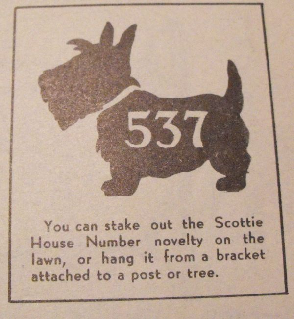 R-ANH0537 - Scottie House Number Vintage Woodworking Plan