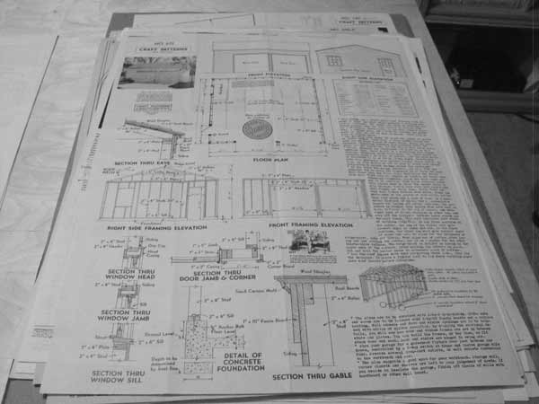 Two car utility garage vintage construction plan for Vintage garage plans