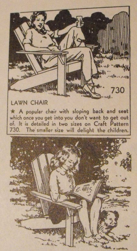 R-ANH0730 - Lawn Chair for Child and Adult Vintage Woodworking Plan.