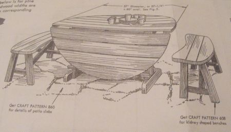 R-ANH0796 - A Drop Leaf Table for Patio or Lawn Vintage Woodworking Plan.