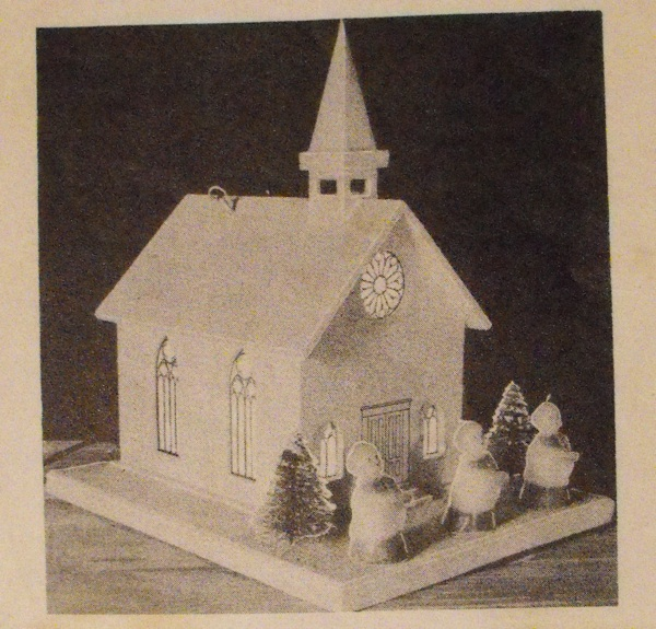 Musical Church with Stained Glass Decals Vintage Woodworking Plan.