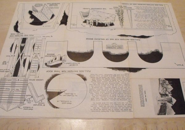 R-ANH1251 - Model Railroad Water Tower, Tunnel and Bridge Vintage Woodworking Plan.