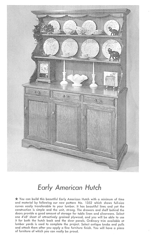 Early American Hutch Vintage Woodworking Plan