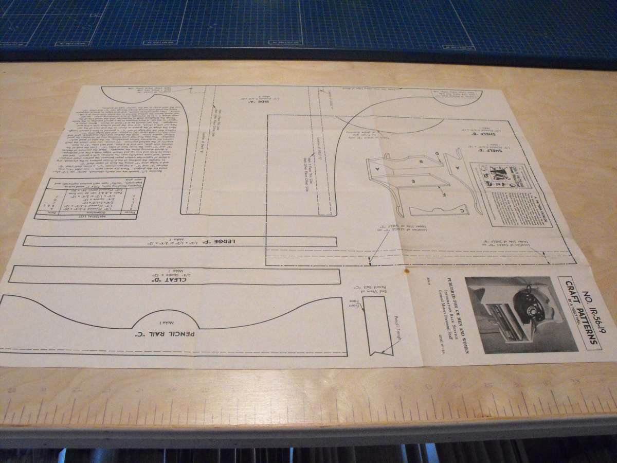 R-ANHIR-56-19 - Telephone Shelf Vintage Woodworking Plan