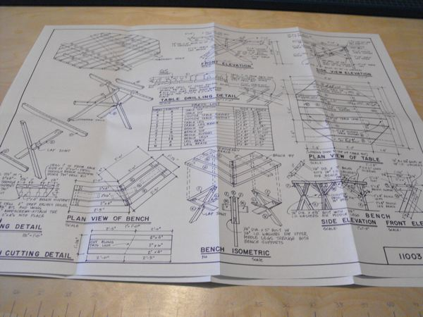 2 Picnic Tables Vintage Woodworking Plan Set