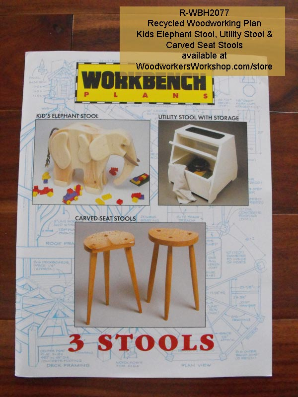 Kids Elephant Stool Vintage Woodworking Plan plus 2 more