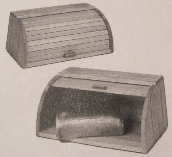R14-334 - Rolltop Tambour Bread Box Vintage Woodworking Plan