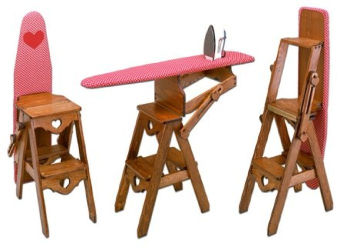 3in1 Stool-Chair-Ironing Board Vintage Woodworking Plan.