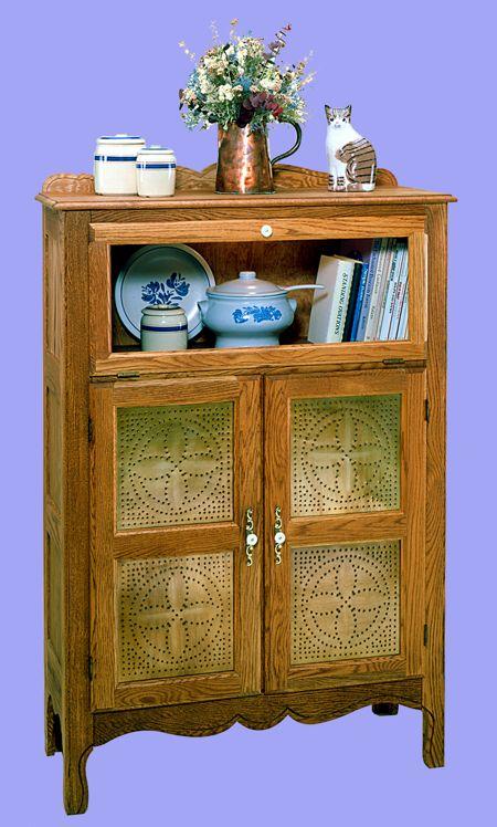 R14-1527 - Pierced Tin Pie Safe Cabinet Vintage Woodworking Plan ...