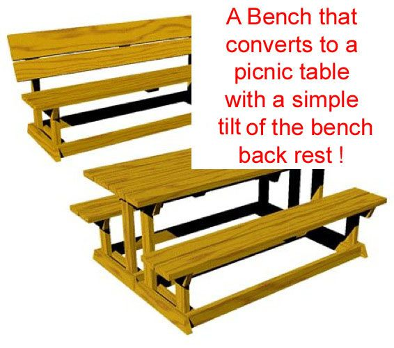 R14-1615 - A Convertible Picnic Table-Bench Vintage Woodworking Plan.