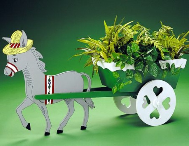 Donkey Cart Planter Vintage Woodworking Plan.