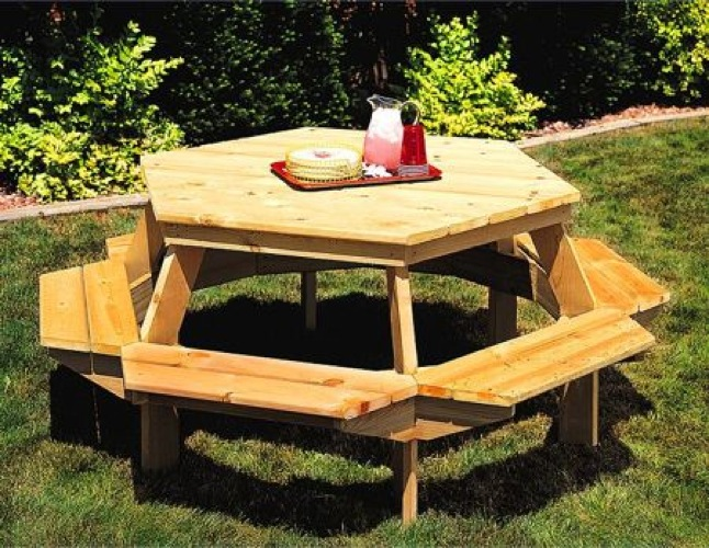 Six Sided Picnic Table Vintage Woodworking Plan