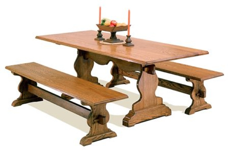 Trestle Style Dining Table With Benches Vintage Woodworking Plan Set