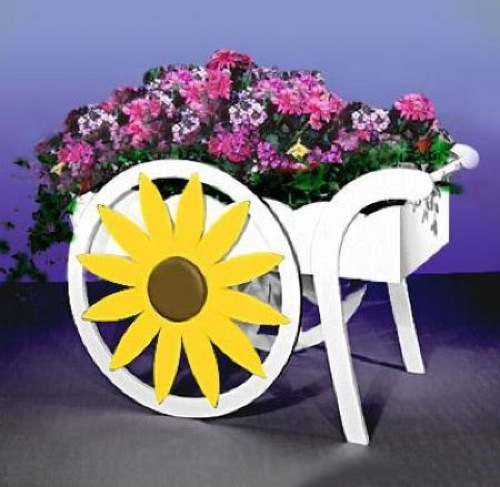 Daisy Wheel Planter Cart Vintage Woodworking Plan