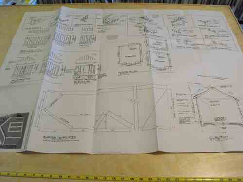 Shed with Gable Roof Construction Vintage Plan