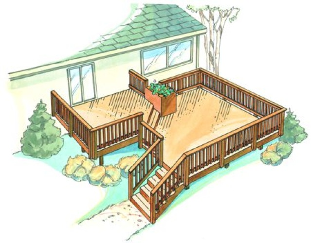 Bi level deck vintage construction plan woodworkersworkshop for Split level garden decking