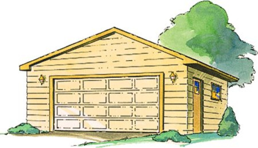 2 Car Garage with Gable Roof Construction Vintage Plan