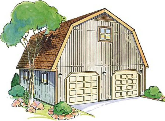 Gambrel garage with loft construction vintage plan for Vintage garage plans