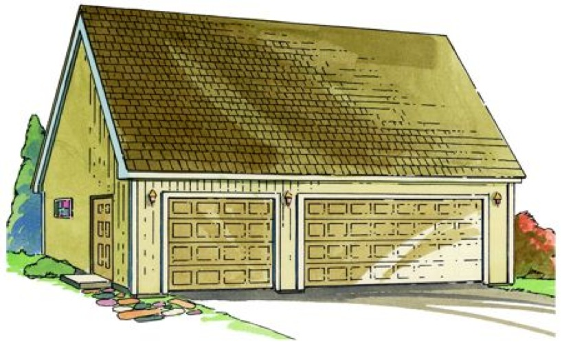 3 Car Garage with loft Construction Vintage Plan