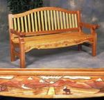 Garden Bench with Inlay Woodworking Project Plan.