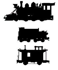 Coal Car and Caboose Train (PDF) Scroll Saw Pattern, trains,locomotives,railroads,railways,railcars,caboose,scrollsaw,scrollsawn,scrolling,full-sized woodworking plans,patterns,projects