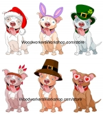 Pitbull for All Seasons Downloadable Scrollsaw Woodworking Plan PDF, pitbulls,dogs,pets,yard art,scrap wood projects,Christmas,easter,St Patricks Day,pilgrim,Thanksgiving,Valentines Day,holidays,downloadable PDF,tole painting wood crafts,scrollsawing patterns,4-H Club,