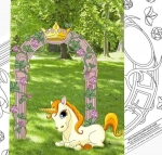 Unicorn at the Gate Woodworking Plan, unicorns,gates,fancy,whimsy,fairy tale,my little pony,tole painting wood crafts,scrollsawing patterns,4-H Club,4H projects,scouts,girl guides,drawings,Accents In Pine,woodworking plans,woodworkers pro