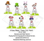 Dalmatians with Hats Yard Art Woodworking Pattern, Dalmatians,dogs,pets,Christmas,Thanksgiving,Spring,Easter,Halloween,patriotic,July 4th,St Patricsk Day,paddys,yard art,painting wood crafts,scrollsawing patterns,drawings,plywood,plywoodworking plans,